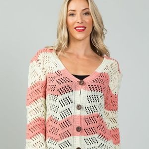 Pink Open knit Cardigan!